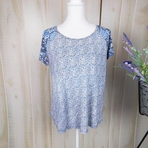 Lucky Brand Blue Patterned Short Sleeve Tee